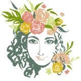 Портрет девушки Grunge флористический при нарисованная рука Стоковое Изображение