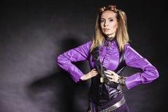 Портрет девушки Steampunk ретро Стоковые Изображения RF