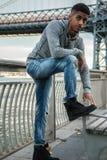 Портрет детеныша, чернокожий человек вдоль ` s Ист-Ривер Williams NYC Стоковые Изображения RF