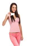 Портрет женщины брюнет владельца карточки Стоковое Изображение RF