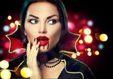 Портрет женщины вампира хеллоуина Стоковые Фото