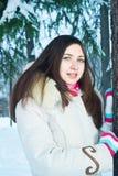 Портрет женщины в зиме Стоковое Изображение RF