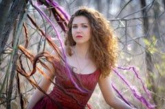 Портрет женщины в длинном красном платье Стоковые Изображения RF
