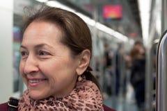 Портрет женщины в метро Стоковые Фото