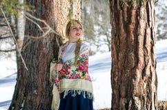 Портрет женщины в снеге стоковые изображения rf