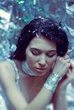 Портрет женщины зимы с составом рождества Стоковые Фото