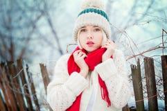 Портрет женщины зимы Стоковое Изображение RF