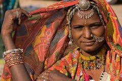 Портрет женщины Индии Rajasthani стоковое изображение rf