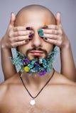 Портрет женщины и человека с творческим красочным составом Стоковые Изображения RF