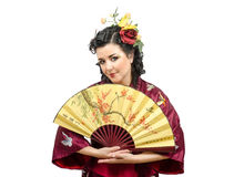 Портрет женщины кавказского кимоно зрелой с вентилятором стоковые фотографии rf