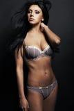 Женщина красивейшего брюнет сексуальная в нижнем белье Стоковое Фото
