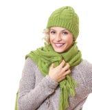 Портрет женщины красоты нося теплый свитер Стоковые Фотографии RF