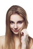 Портрет женщины красоты усмехаться маленькой девочки красивый жизнерадостный Стоковое Изображение RF