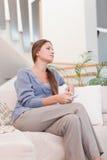 Портрет женщины миря TV Стоковое фото RF