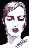 Портрет женщины моды винтажный графический с черными губами Стоковые Изображения