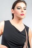 Портрет женщины моды в современном платье Стоковая Фотография RF
