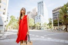 Портрет женщины на районе офиса в Барселоне Стоковые Фото