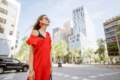 Портрет женщины на районе офиса в Барселоне Стоковые Изображения