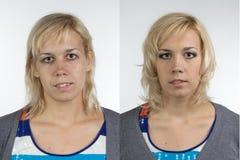 Портрет женщины перед и после составляет стоковое изображение