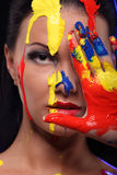 Портрет женщины покрасил схематическое искусство тела Стоковое Изображение