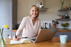 Портрет женщины работая от дома на компьтер-книжке в квартире Стоковое Изображение RF
