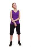 Портрет женщины спорта фитнеса, изолированная съемка студии Стоковое Изображение