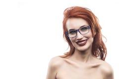 Портрет женщины стекел Eyewear изолированный на белизне Стоковое Фото