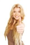 Портрет женщины студента показывая большой палец руки вверх Стоковое фото RF