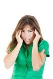 Портрет женщины студента с огромной головной болью стоковые фото