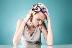 Портрет женщины с головной болью Стоковая Фотография RF