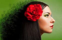 Портрет женщины с красным цветом поднял Стоковое Фото