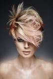 Портрет женщины с покрашенным coiffure Стоковое Изображение