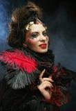 Портрет женщины с художническим составом в голубом дыме Стоковые Фото