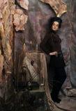 Портрет женщины с художническим составом в голубом дыме, party Стоковое Изображение