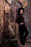 Портрет женщины с художническим составом в голубом дыме, party Стоковое Фото