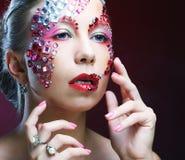 Портрет женщины с художническим составом Роскошное изображение Стоковое Изображение