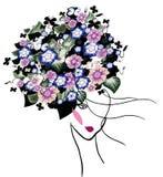 Портрет женщины с цветками иллюстрация штока