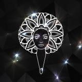 Портрет женщины с luxuriant волосами в стиле африканца вектор Гениальная предпосылка Стоковая Фотография