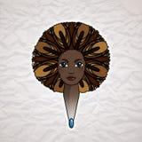 Портрет женщины с luxuriant волосами в стиле африканца вектор Стоковая Фотография RF