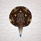 Портрет женщины с luxuriant волосами в стиле африканца вектор Стоковые Изображения RF