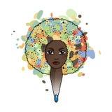 Портрет женщины с luxuriant волосами в стиле африканца вектор Стоковая Фотография