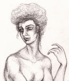 Портрет женщины угля в винтажном стиле Сторона девушки моды чертежа карандаша Стоковое фото RF