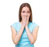Портрет женщины удивленной детенышами изолированной на белизне Стоковая Фотография