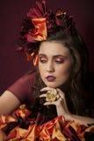Портрет женщины фантазии осени флористической Стоковые Изображения