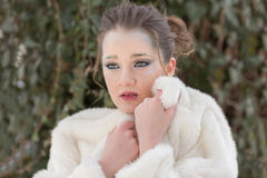 Портрет женщины, ферзь снега стоковое фото rf
