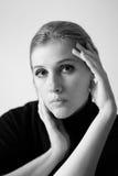 Портрет женщины черно-белый Стоковые Изображения RF