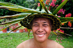 Портрет женщины Aitu Tahitian polynesian острова в Тихом океане зрелой Стоковые Фото