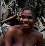 Портрет женщины pigmy Baka в запасе Dja, Камеруне Стоковые Изображения RF