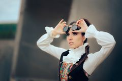 Портрет женщины Sci Fi ретро футуристический Steampunk Cosplay Стоковые Изображения