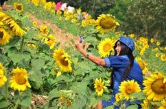 Портрет женщин тайский на поле солнцецвета на Saraburi Таиланде Стоковые Фотографии RF